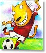 Soccer Cat Metal Print