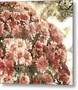 Soft Red Mums Metal Print