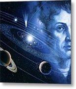 Solar System And Nicolaus Copernicus Metal Print