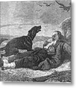 Soldier & Dog Metal Print