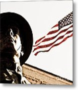 Soldier And Flag Metal Print