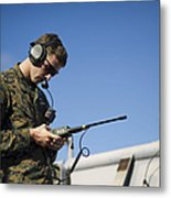 Soldier Conducts A Communications Check Metal Print