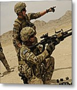 Soldier Directing A Fellow Soldier Metal Print