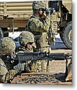 Soldier Firing A M240b Machine Gun Metal Print