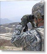 Soldier Observes An Adjust Fire Mission Metal Print