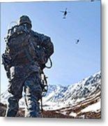 Soldier Patrols Through Alaska's Metal Print