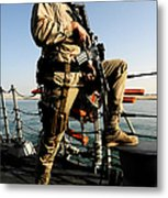 Soldier Stands Watch Aboard Uss Momsen Metal Print