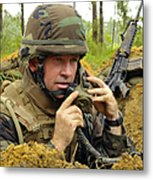 Soldier Using A Ta-1 Sound Powered Metal Print