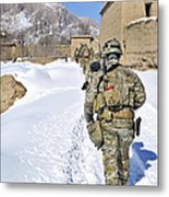 Soldiers Conduct A Patrol In Shah Joy Metal Print