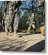 Soldiers Conduct A Ruck March At Fort Metal Print