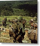 Soldiers Descend The Side Of Hill 742 Metal Print