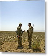 Soldiers Discuss, Drop Zone Metal Print