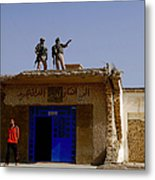 Soldiers Discuss The New Iraqi Police Metal Print by Stocktrek Images
