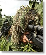Soldiers Dressed In Ghillie Suits Metal Print