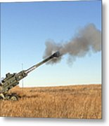 Soldiers Fire A 155mm M777 Lightweight Metal Print