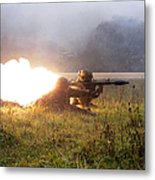 Soldiers Fire A Rocket Propelled Metal Print