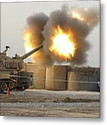 Soldiers Fire The Howitzers Metal Print