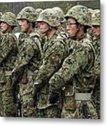 Soldiers From The Japan Ground Self Metal Print by Stocktrek Images