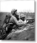 Soldiers Locate Enemy Position On A Map Metal Print