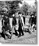 Soldiers March Black And White Metal Print