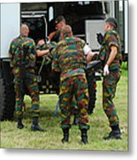 Soldiers Of A Belgian Infantry Unit Metal Print