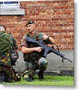 Soldiers Of The Belgian Army Helping Metal Print