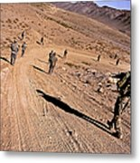 Soldiers Patrol To A Village Metal Print