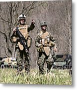 Soldiers Perform A Site Survey In Camp Metal Print