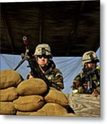 Soldiers Provide Security Metal Print