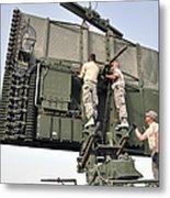 Soldiers Set Up A Tps-75 Radar Metal Print