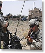 Soldiers Setting Up A Satellite Metal Print
