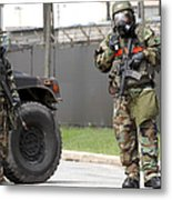 Soldiers Stand Guard At An Intersection Metal Print
