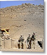 Soldiers Wait For Afghan National Metal Print