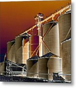 Soloized Grain Bins Metal Print