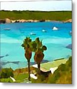 Son Saura Bay And Palms Metal Print