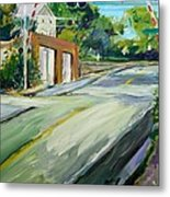 South Main Street Train Crossing Metal Print