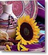 Southwestern Still Life With Sunflower Metal Print