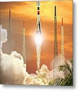 Soyuz-2 Rocket Launch, Artwork Metal Print