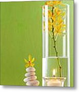 Spa Concepts With Green Background Metal Print