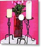 Spa Roses And Candles Metal Print