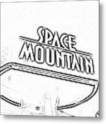 Space Mountain Sign Magic Kingdom Walt Disney World Prints Black And White Photocopy Metal Print