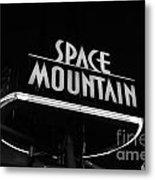 Space Mountain Sign Magic Kingdom Walt Disney World Prints Black And White Metal Print