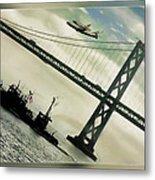 Space Shuttle And San Francisco Bay Bridge  Metal Print