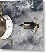 Space Shuttle Atlantis And The Docked Metal Print
