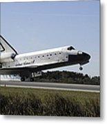 Space Shuttle Atlantis Touches Metal Print