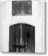 Spanish Fort Door Castillo San Felipe Del Morro San Juan Puerto Rico Prints Black And White Metal Print by Shawn O'Brien