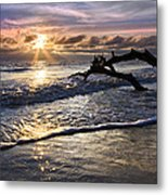 Sparkly Water At Driftwood Beach Metal Print