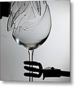 Speaker Breaking A Glass With Sound Metal Print