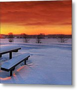 Spectaculat Winter Sunset Metal Print by Jaroslaw Grudzinski