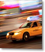 Speeding Cab Metal Print